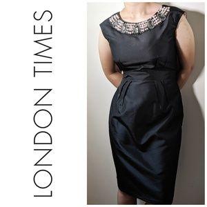 Stunning Pearl & Rhinestone Collared Sheath Dress